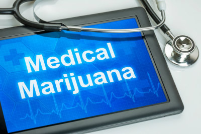 Tablet with the text Medical marijuana the display